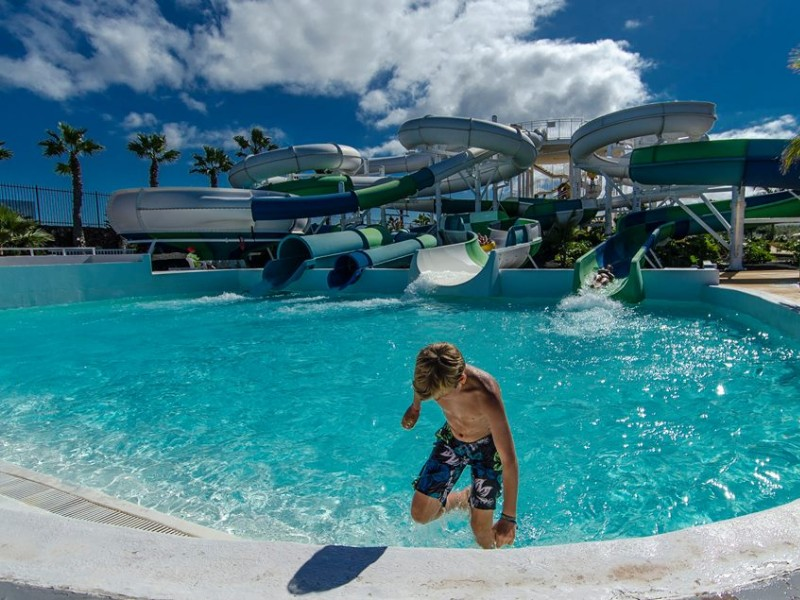 Aqualava Water Park Lanzarote - Child Getting off WaterSlide